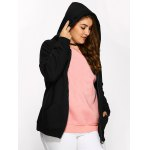 cheap Plus Size Fleece Zip Up Embroidery Hoodie