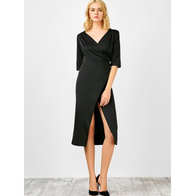 Half Sleeve Plunging Neck Wrap Dress