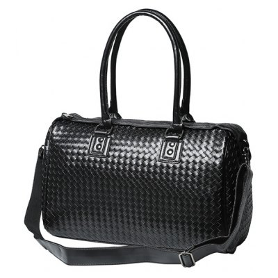 Woven Faux Leather Weekend Bag