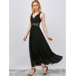 Lace Panel Chiffon Maxi Gown Evening Dress deal