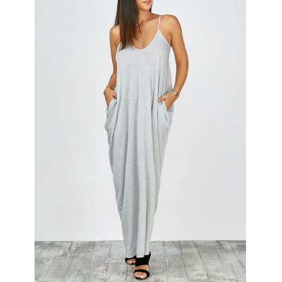 V Neck Loose Fit Casual Summer Long Maxi Slip Dress