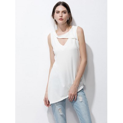 Keyhole sleeveless asymmetrical t-shirt