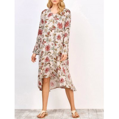 Long Sleeve Midi Floral Print Dress