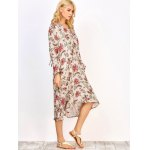 cheap Long Sleeve Midi Floral Print Dress