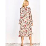 Long Sleeve Midi Floral Print Dress for sale