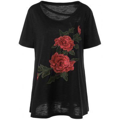 Embroidered Floral Plus Size Casual Long T-Shirt