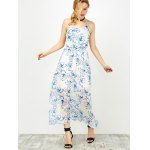 Halter Backless Floral Chiffon Prom Dress deal