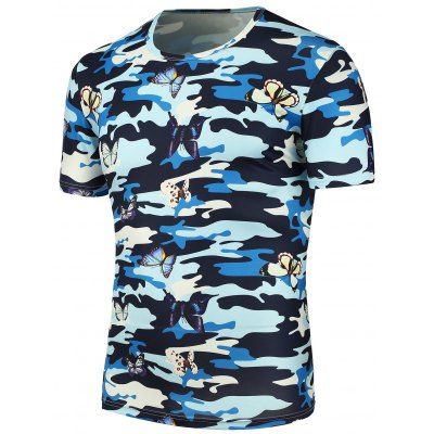 3D Butterfly Camouflage Printed T-Shirt