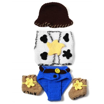 Set of Fashion Cowboy Style Knitting Props Clothes Hat Jacket Boot For Baby's Photography
