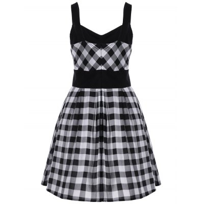 Single Breasted Check Plaid DressSleeveless Dresses<br>Single Breasted Check Plaid Dress<br><br>Dresses Length: Mini<br>Material: Polyester<br>Neckline: Square Collar<br>Package Contents: 1 x Dress<br>Pattern Type: Plaid<br>Season: Summer<br>Silhouette: A-Line<br>Sleeve Length: Sleeveless<br>Style: Vintage<br>Weight: 0.4000kg<br>With Belt: No