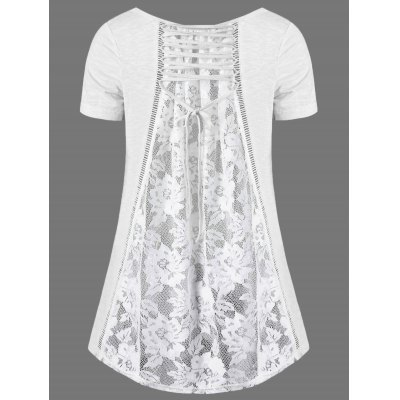 V Neck Floral High Low Hem Lace Back T-ShirtTees<br>V Neck Floral High Low Hem Lace Back T-Shirt<br><br>Collar: V-Neck<br>Material: Polyester, Spandex<br>Package Contents: 1 x T-Shirt<br>Pattern Type: Floral<br>Season: Summer<br>Shirt Length: Long<br>Sleeve Length: Short<br>Style: Cute<br>Weight: 0.3600kg