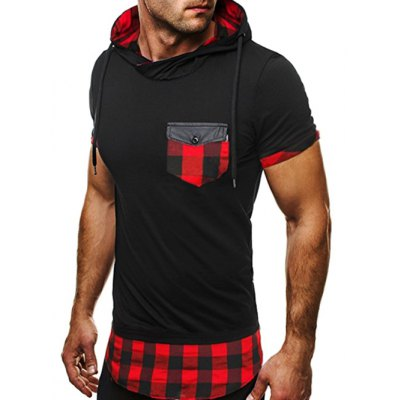 Side Zip Plaid Panel Hooded Tee