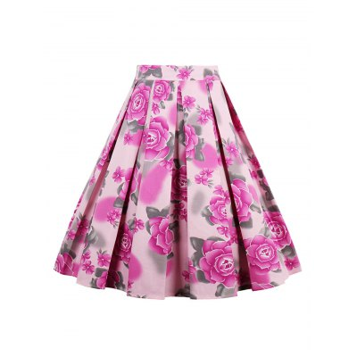 High Waisted Printed Pleated Skirt