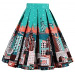 cheap High Waisted Printed Pleated Skirt