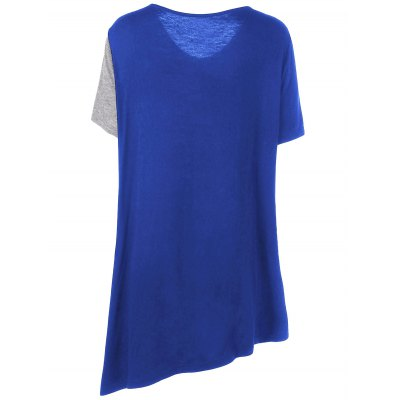 Asymmetrical Color Block Plus Size T-ShirtPlus Size Tops<br>Asymmetrical Color Block Plus Size T-Shirt<br><br>Collar: V-Neck<br>Material: Cotton, Spandex<br>Package Contents: 1 x T-Shirt<br>Pattern Type: Others<br>Season: Summer<br>Shirt Length: Long<br>Sleeve Length: Short<br>Style: Casual<br>Weight: 0.2000kg