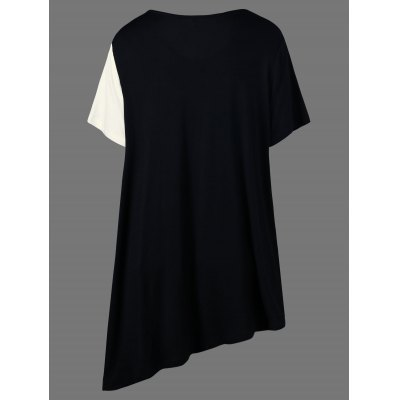 Asymmetrical Color Block Plus Size Long T-ShirtTees<br>Asymmetrical Color Block Plus Size Long T-Shirt<br><br>Collar: V-Neck<br>Material: Cotton, Spandex<br>Package Contents: 1 x T-Shirt<br>Pattern Type: Others<br>Season: Summer<br>Shirt Length: Long<br>Sleeve Length: Short<br>Style: Casual<br>Weight: 0.2000kg