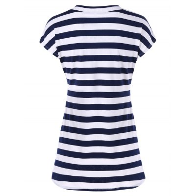 V neck longline striped t-shirt