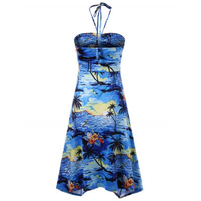 Empire Waist Tropical Halter Dress