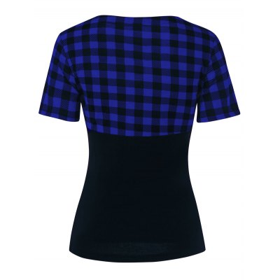 V Neck Front Bowknot Checked T-Shirt