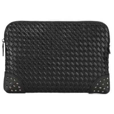 Rivet Faux Leather Woven Clutch Bag