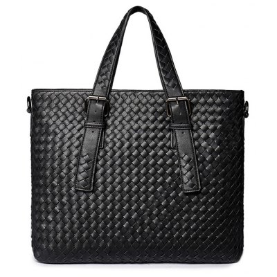 Woven Buckle Straps Tote Bag