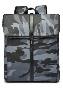 Camouflage Print PU Leather Backpack