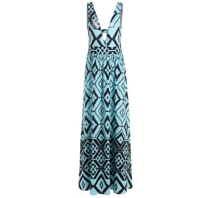 Empire Waist Geometric Casual Summer Maxi Dress