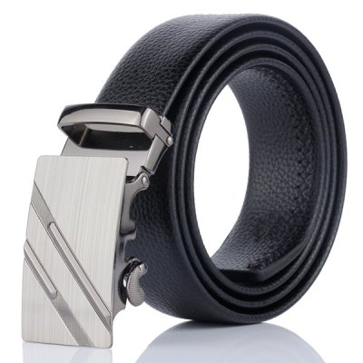 Double Diagonal Stripe Metal Auto Buckle Belt