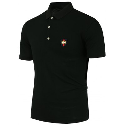 Metal Bee Embellishment Half Button Design Polo Shirt