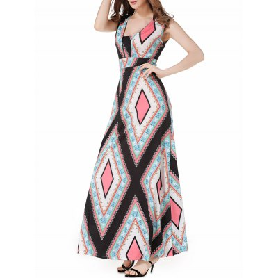 V Neck Argyle Casual Summer Maxi Dress