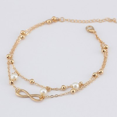 Beads Fake Pearl 8 Shape Double Layered AnkletBracelets &amp; Bangles<br>Beads Fake Pearl 8 Shape Double Layered Anklet<br><br>Gender: For Women<br>Metal Type: Alloy<br>Package Contents: 1 x Anklet<br>Shape/Pattern: Geometric<br>Style: Trendy<br>Weight: 0.0500kg