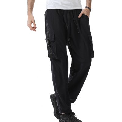 Plastic Buckle Design Pockets Baggy Cargo Sweatpants