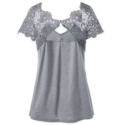 Plus Size Cutwork Lace Trim T-ShirtTees<br>Plus Size Cutwork Lace Trim T-Shirt<br><br>Collar: V-Neck<br>Material: Polyester, Spandex<br>Package Contents: 1 x T-Shirt<br>Pattern Type: Paisley<br>Season: Summer<br>Shirt Length: Regular<br>Sleeve Length: Short<br>Style: Casual<br>Weight: 0.2800kg