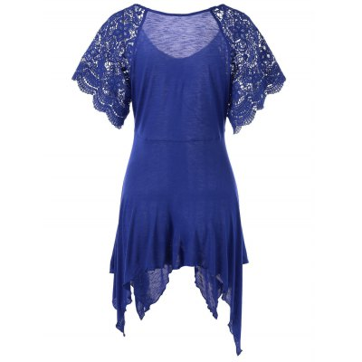 Plus Size Lace Sleeve Self Tie Handkerchief TopTees<br>Plus Size Lace Sleeve Self Tie Handkerchief Top<br><br>Collar: V-Neck<br>Embellishment: Lace<br>Material: Cotton, Cotton Blends, Polyester<br>Package Contents: 1 x Top<br>Pattern Type: Solid<br>Season: Spring, Summer<br>Shirt Length: Long<br>Sleeve Length: Short<br>Style: Fashion<br>Weight: 0.3500kg