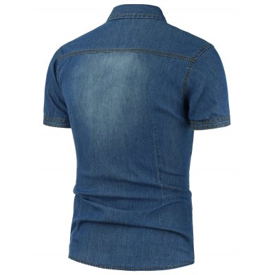 Slim Fit Patched Denim ShirtMens Shirts<br>Slim Fit Patched Denim Shirt<br><br>Collar: Turn-down Collar<br>Material: Cotton, Jean, Polyester<br>Package Contents: 1 x Shirt<br>Pattern Type: Solid<br>Shirts Type: Casual Shirts<br>Sleeve Length: Short<br>Weight: 0.2700kg