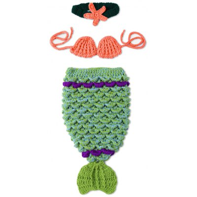 Baby Photography Prop Knitted Crochet Mermaid Costume