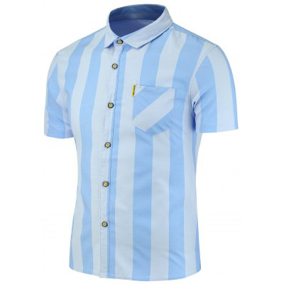 Vertical Stripes Pattern Short Sleeves Shirt