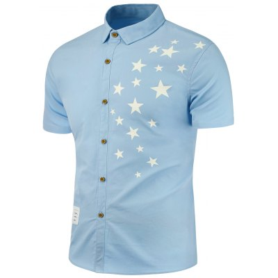 Stars Printed Patch Embellished Shirt