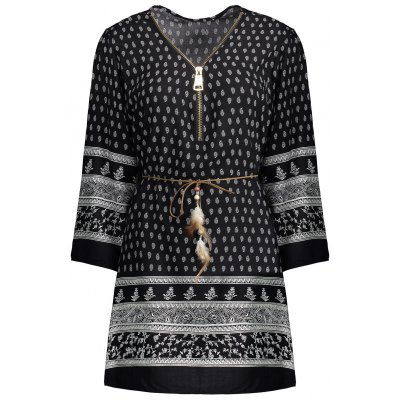 Ethnic Print Zipper Design Belted Dress