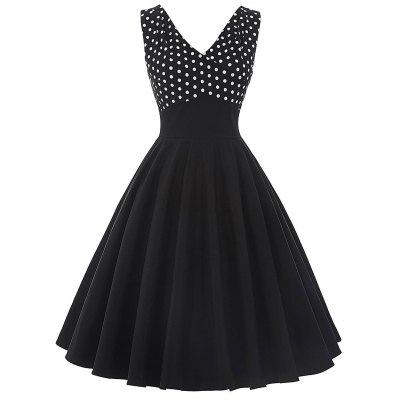 Cocktail Vintage V Neck Polka Dot Dress