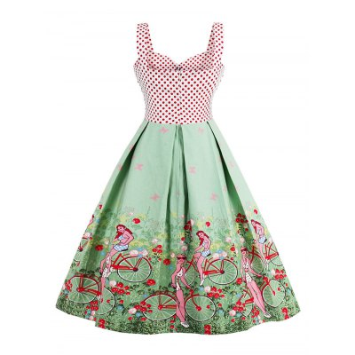 Polka Dot Scenic Print Vintage DressSleeveless Dresses<br>Polka Dot Scenic Print Vintage Dress<br><br>Dresses Length: Knee-Length<br>Material: Polyester<br>Neckline: Sweetheart Neck<br>Package Contents: 1 x Dress<br>Pattern Type: Polka Dot<br>Season: Summer<br>Silhouette: A-Line<br>Sleeve Length: Sleeveless<br>Style: Vintage<br>Weight: 0.4500kg<br>With Belt: No