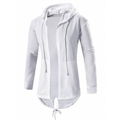 Open Front High Low Hooded Coat