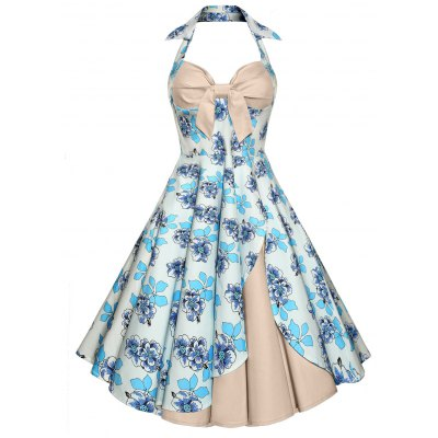 Backless Floral Print Vintage Dress