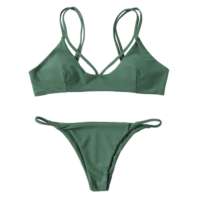 Stylish High-cut Green Women Bikini SetWomens Swimwear<br>Stylish High-cut Green Women Bikini Set<br><br>Bra Style: Padded<br>Elasticity: Elastic<br>Gender: For Women<br>Material: Nylon, Spandex<br>Neckline: Spaghetti Straps<br>Package Contents: 1 x Bra  1 x Briefs<br>Pattern Type: Solid<br>Support Type: Wire Free<br>Swimwear Type: Bikini<br>Waist: Natural<br>Weight: 0.2700kg