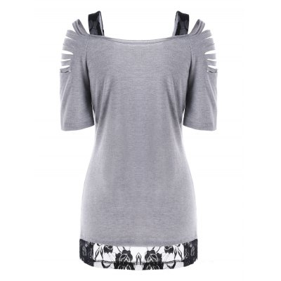 Ripped Lace Trim Floral T-ShirtTees<br>Ripped Lace Trim Floral T-Shirt<br><br>Collar: Square Neck<br>Material: Rayon, Spandex<br>Package Contents: 1 x T-Shirt<br>Pattern Type: Floral<br>Season: Summer<br>Shirt Length: Regular<br>Sleeve Length: Short<br>Style: Casual<br>Weight: 0.4000kg