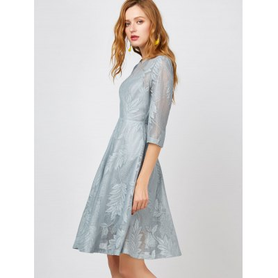 Semi Sheer A Line Leaves DressMini Dresses<br>Semi Sheer A Line Leaves Dress<br><br>Dresses Length: Knee-Length<br>Material: Polyester<br>Neckline: Round Collar<br>Occasion: Going Out<br>Package Contents: 1 x Dress<br>Pattern Type: Others<br>Season: Fall, Spring<br>Silhouette: A-Line<br>Sleeve Length: 3/4 Length Sleeves<br>Style: Casual<br>Weight: 0.3150kg<br>With Belt: No