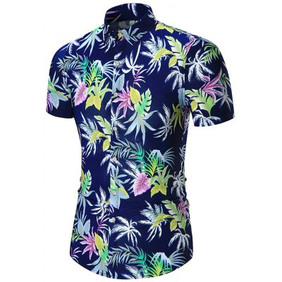 Leaves Printed Plus Size Hawaiian Shirt