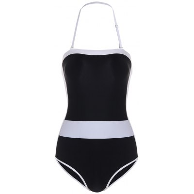 Halter Two Tone One Piece Swimsuit