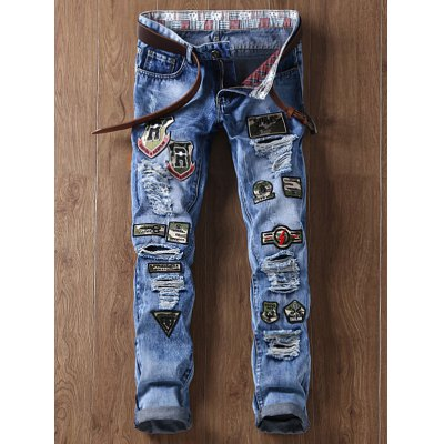 Distressed Camouflage Appliques Straight Leg Jeans