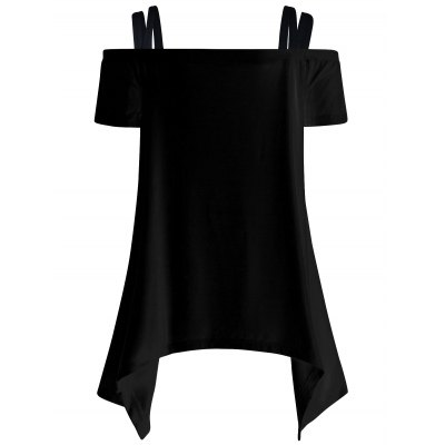 Off The Shoulder Skull Asymmetric T-Shirt